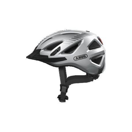 Fra Abus Urban-I 3.0 Signal silver cykelhjelm m. LED-baglygte